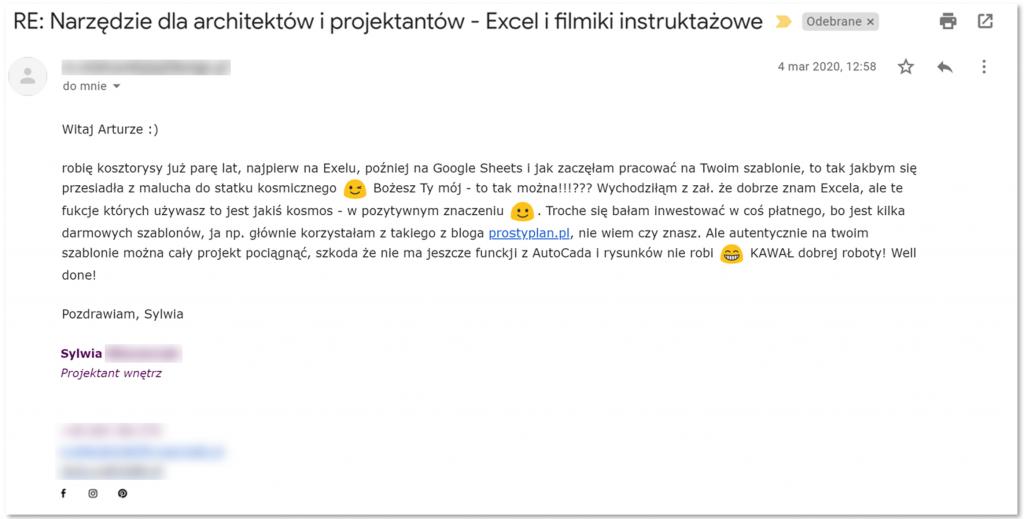 Szablon Excel dla architektów i projektnatów wnętrz - opinia użytkownika #4