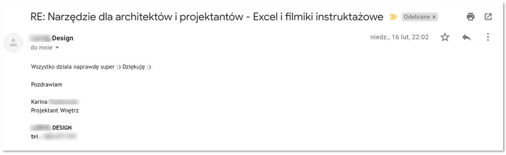 Szablon Excel dla architektów i projektnatów wnętrz - opinia użytkownika #3