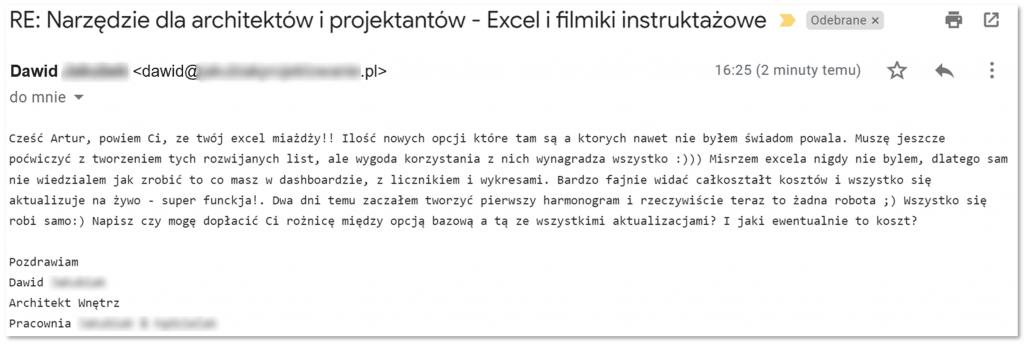 Szablon Excel dla architektów i projektnatów wnętrz - opinia użytkownika #2