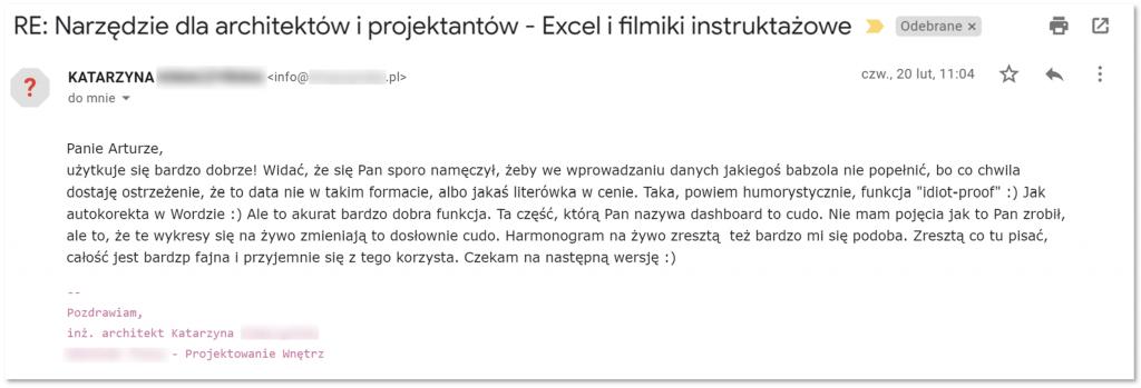 Szablon Excel dla architektów i projektantów - opinia użytkownika #1